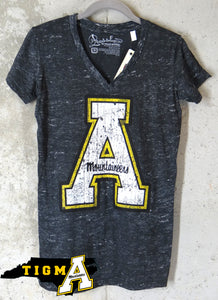 Appalachian State Mountaineers Ladies Block A Logo Distressed V-Neck Shirt