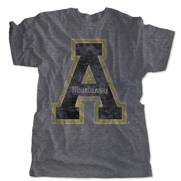 Appalachian State Mountaineers Block A Distressed Logo Shirt - Gray