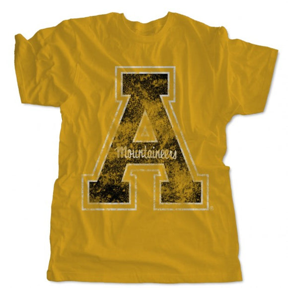 Appalachian State Mountaineers Block A Distressed Logo Shirt - Gold
