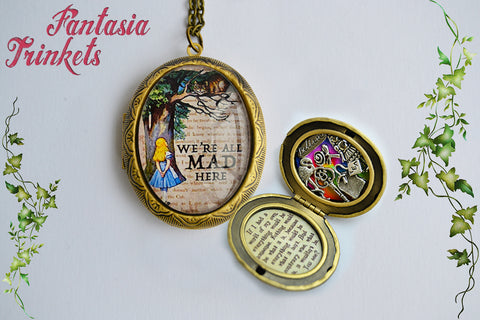 Alice in Wonderland Locket Pendant Necklace (quote and charms inside)