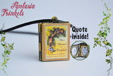 Alice's Adventures in Wonderland Book Locket (quote inside) Charm Pendant Necklace Keyring