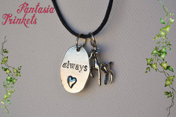 "Severus & Lily - Silver Doe Charm and ""Always"" Tag Keychain or Pendant Necklace - Harry Potter Jewelry"