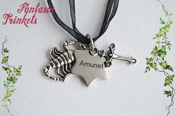 "Vanessa Ives ""Amunet"" Engraved Tag, Cross and Scorpion Charm Pendant Necklace - Penny Dreadful inspired"