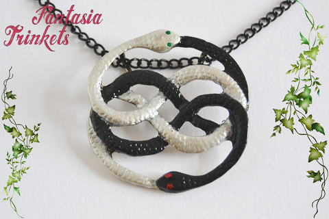 Auryn - Black and White Handpainted Pendant Necklace - Michael Ende's version - Neverending Story Jewelry