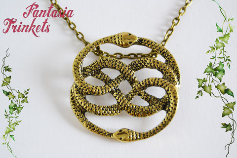 Auryn - Bronze Tone Pendant Necklace - Bastian's Book Cover Replica - Neverending Story Jewelry