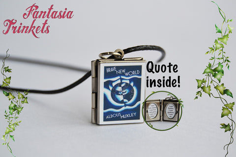 Brave New World Miniature Book Locket (quote inside) Charm, Keychain or Pendant Necklace