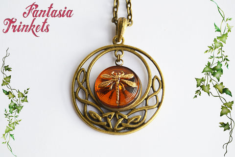 Dragonfly in Amber in Bronze Celtic Circle Pendant Necklace - Outlander Jewelry