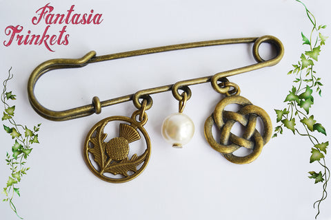 Scottish Bronze Kilt Pin or Shawl Brooch - Thistle Flower + Celtic Knot + Pearl - Outlander Jewelry