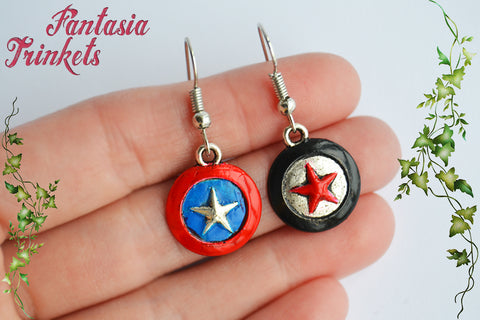 Captain America Shield & Winter Soldier Star Handpainted Hook Earrings - Superhero Avengers Jewelry