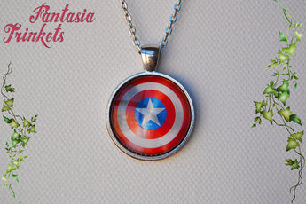 Captain America Shield Photo Glass Pendant Necklace - Superhero inspired Jewelry
