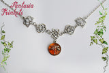 Dragonfly in Amber & Celtic Knots Victorian Style Necklace - Outlander Jewelry