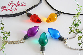 Stranger Things inspired Christmas Tree Lights Charm Keychain or Pendant Necklace