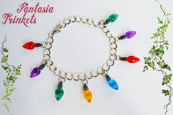 Stranger Things inspired Small Colorful Christmas Tree Lights Silver Thin Link Bracelet