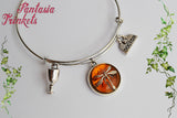 Dragonfly in Amber (Czech Glass) Doctor Claire Fraser - Silver Bangle Bracelet - Outlander Jewelry