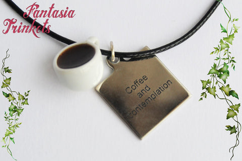Coffee and Contemplation - Steel Tag + Miniature Cup of Coffee - Chief Hopper Keychain or Pendant Necklace - Stranger Things Jewelry