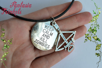 "Daryl Dixon ""Keep calm and kill zombies"" Tag + Crossbow Charm Keychain or Pendant Necklace - Walking Dead inspired Horror Jewelry"
