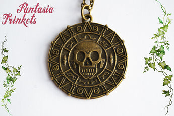 Cursed Pirate Treasure Coin Bronze Pendant Necklace - Pirates of the Caribbean inspired