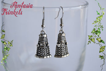 Dalek Earrings - Antique Silver Robot Dangle Earrings - Stainless Steel Hooks - Doctor Who inspired Jewelry