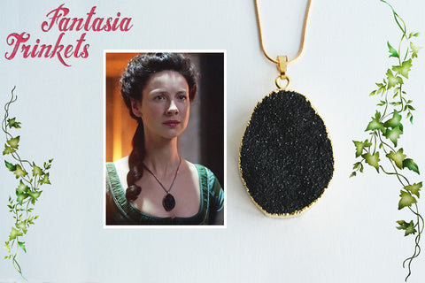 Black Druzy Quartz Pendant - Claire Fraser's Poison Detector Necklace - Outlander Jewelry
