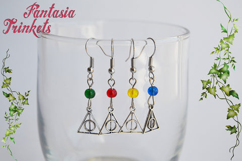 Deathly Hallows Symbol + Hogwarts Houses Colors Glass Bead Dangle Earrings - Harry Potter Jewelry