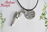 Dolores' Maze Quote Handstamped Tag + Gun Charm Pendant Necklace - Westworld inspired