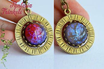 Fire & Ice - Dragon's Breath and Tanzanite Czech Glass Opals - Double Sided Spinning Pendant Necklace