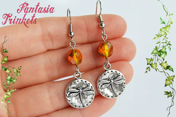 Dragonfly Coins and Amber Czech Glass Beads Hook Earrings - Outlander Jewelry