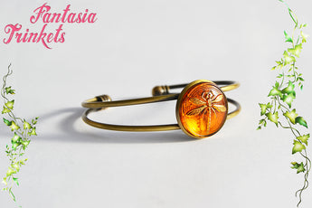 Dragonfly in Amber (Czech Glass) Bronze Cuff Bracelet - Outlander Jewelry