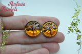 Dragonfly in Amber (Czech Glass) Silver Tone Cufflinks - Gifts for Him - Outlander Jewelry