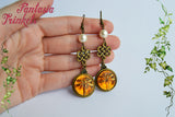 Dragonfly in Amber (Czech Glass) + Pearls + Celtic Knots Bronze Hook Earrings - Outlander Jewelry