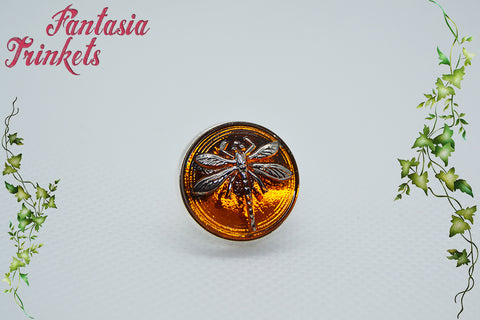 Dragonfly in Amber Lapel Pin - Czech Glass on Silver Tie Tack - Outlander Jewelry