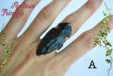 Dragonglass Shard Ring - Genuine Black Obsidian Arrowhead on an Adjustable Bronze Ring - Game of Thrones Jewelry