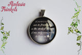 Happiness can be found in the darkest of times - Albus Dumbledore Quote Photo Glass Pendant Necklace - Harry Potter Jewelry