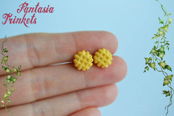 Eggo Earrings - Miniature Waffle Posts - Eleven Studs - Stranger Things Jewelry