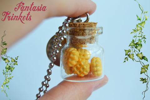 Eggos in a Bottle - Eleven Necklace - Miniature Waffles in a Glass Bottle + 011 Steel Tag - Stranger Things Jewelry
