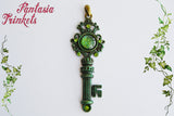 Key to the Emerald City - Handpainted Glittery Green Fantasy Key Pendant Necklace