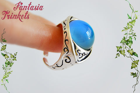 Mood Ring - Color Changing Stone on Adjustable Eye Shaped Silver Tone Unisex Ring - Vintage Mood Jewelry