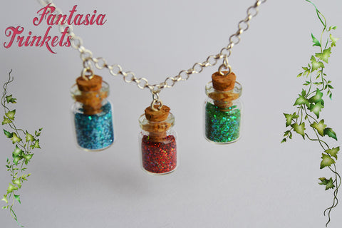 The Three Good Fairies - Triple Fairy Dust Bottle Necklace - Sleeping Beauty Fairy Tale inspired