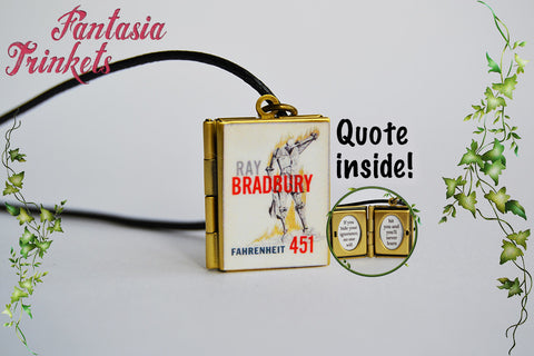 Fahrenheit 451 Miniature Book Locket (quote inside) Charm, Keychain or Pendant Necklace