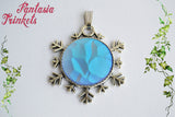 "Iridescent Frozen Ice Nugget Gem on a Silver Snowflake ""Snow Queen"" Pendant Necklace - Fairy Tale Princess inspired"
