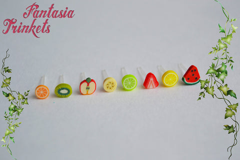 Tiny Fruit Slices Post Earrings - Hypoallergenic Miniature Fimo Food and Plastic Studs