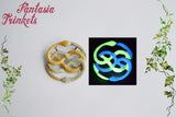 Glowing Auryn - Gold and Silver Handpainted Pendant Necklace - Glow in the Dark Atreyu's Amulet Replica - Neverending Story Jewelry