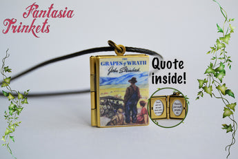 The Grapes of Wrath Miniature Book Locket (quote inside) Charm, Keychain or Pendant Necklace
