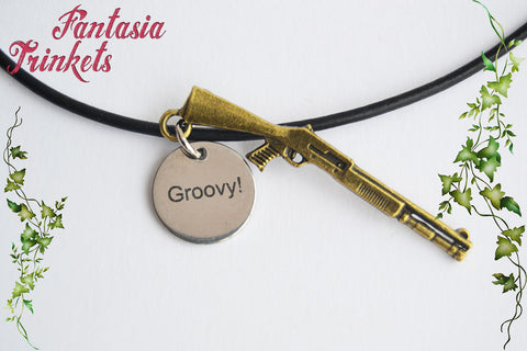 Groovy! Steel Tag + Gunshot Charm - Ash Williams Keychain or Pendant Necklace - Evil Dead inspired