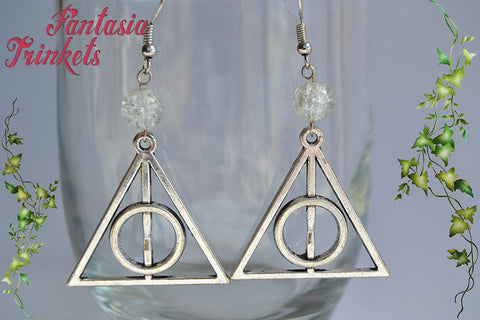 Deathly Hallows Earrings - Large Silver Charm + Glass Beads (any color) - Harry Potter Jewelry