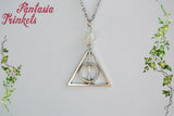 Deathly Hallows Symbol - Antique Silver Charm Pendant Necklace + Glass Bead (any color) - Harry Potter Jewelry