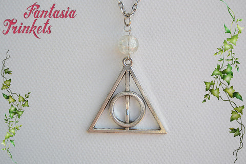 Deathly Hallows Symbol Antique Silver Charm Pendant Necklace