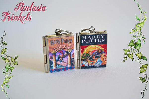 Harry Potter Series Book Locket (42 different covers + custom quote inside) Charm, Keychain or Pendant Necklace