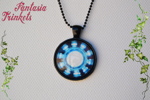 Iron Man's Arc Reactor - Tony Stark's Heart - Photo Glass Pendant Necklace - Superhero inspired Jewelry