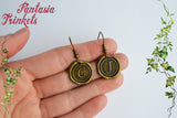 Claire and Jamie Initial Letters Bronze Hook Earrings - Outlander Jewelry